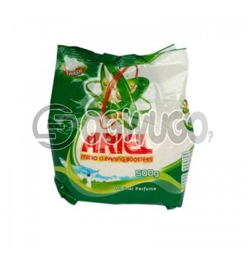 500 grams Ariel powdered washing detergent sachet for fresher and clean white clothes.