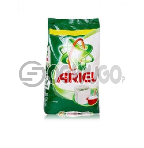 Two kilograms (2kg) Ariel powdered washing detergent sachet for fresher and clean white clothes.
