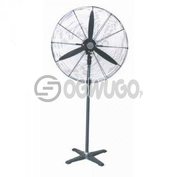 OX Industrial Standing Fan - 20inches, Blade: Aluminum ox blade, Three blades  Base: Metal cross base 5.2kg Pipe: Outer tube 1M. Inner tube 600mm  Speed: 1300 opened 150 Power: 140W Temperature Rise <70K: unable to load image