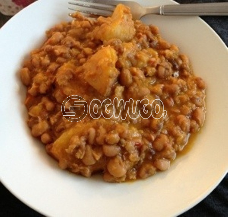 Porridge Beans and Yam with Fresh Fish or Pork Meat, to give you maximum satisfaction and a fill of home made food