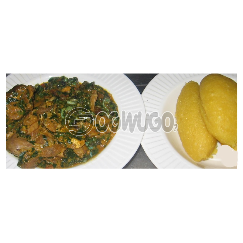 Vegetable soup with two hot swallow which can be either, garri, semo, wheat or fufu please select your swallow type