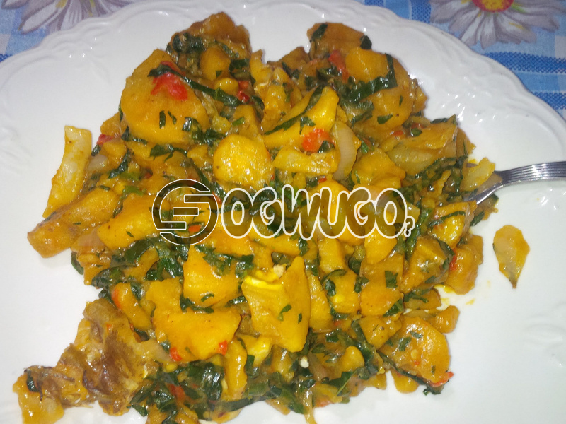 Unripe Plantain Porridge and Fish Tail. Unripe plantain porridge is always available as from 9am - 12pm daily. This product also comes with free water