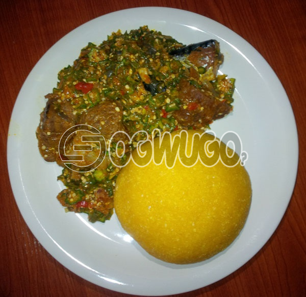 Egusi and Okro soup sold with One big Meat and One big ball of semo, garri,fufu,and wheat neatly prepared sold on SATURDAY.: unable to load image