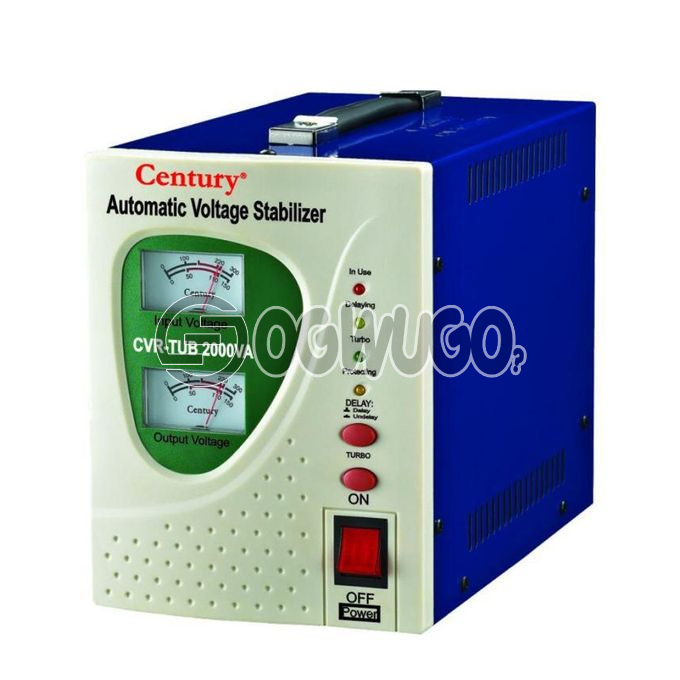 Century 1000W TUB 1KVA Stabilizer, 1000VA Capacity Stabilizer For TVs, Home Theatre, Fans, Computers and small One Horsepower Fridges, Output: 230V,50hz