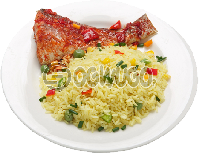 Hot Delicious savory fried Rice and Fish tail. It comes with well garnished fish Just the way you like. Get free water when you order for this item: unable to load image