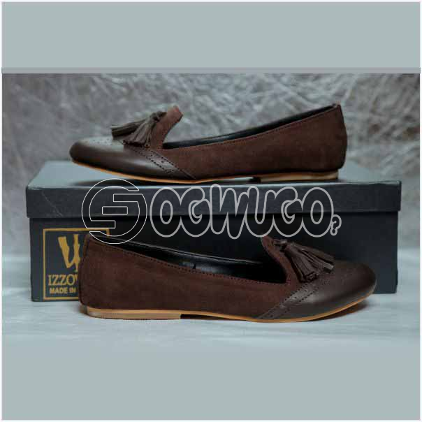 Izzowuzi Women's Brown Casual Slip-on Tassel Loafers Available in Beautiful Colors Made in Nigeria b: unable to load image