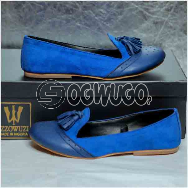 Izzowuzi Women's Blue Casual Slip-on Tassel Loafers Available in Beautiful Colors Made in Nigeria by Izzo