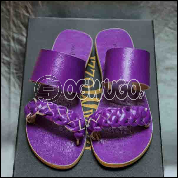 Izzowuzi Purple Women's Casual Double Strap Leather Slippers Available in Varieties of Colors: unable to load image