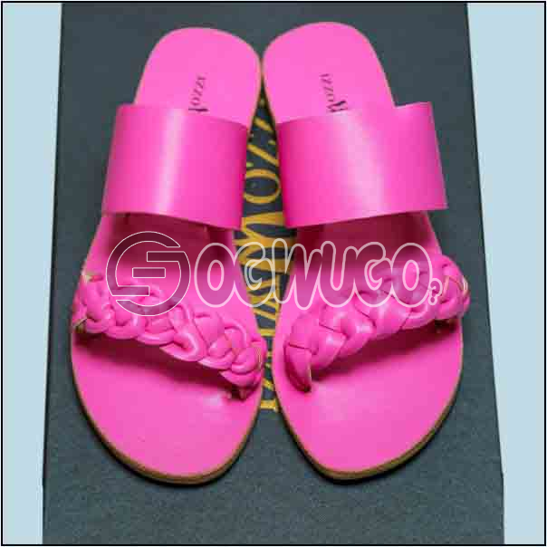 Izzowuzi Pink Color Women's Casual Double Strap Leather Slippers keeps you looking smart.: unable to load image