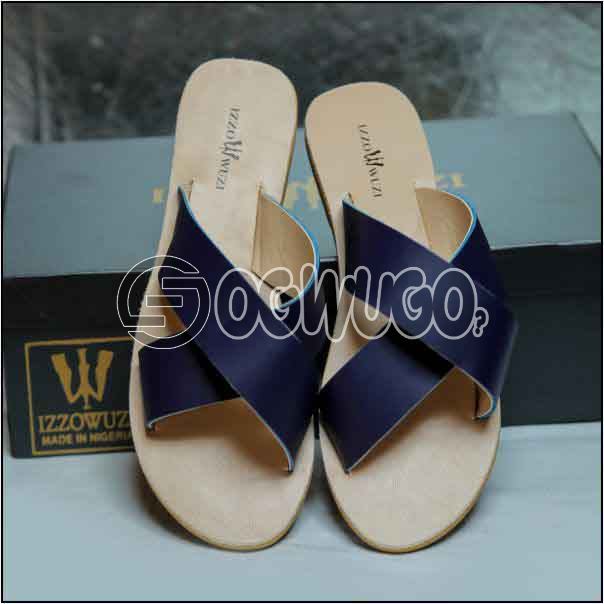 Izzowuzi Ladies Plain and Classy Navy Blue Color Cross Strap Open Toe Slides Slippers: unable to load image