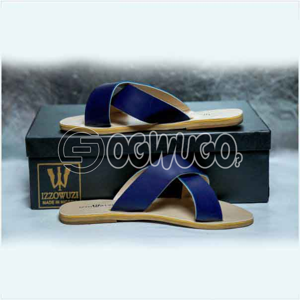 Izzowuzi Ladies Plain and Classy Navy Blue Color Cross Strap Open Toe Slides Slippers