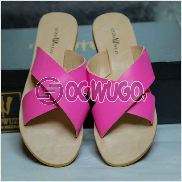 Izzowuzi Ladies Plain and Classy Pink Color Cross Strap Open Toe Slides Slippers