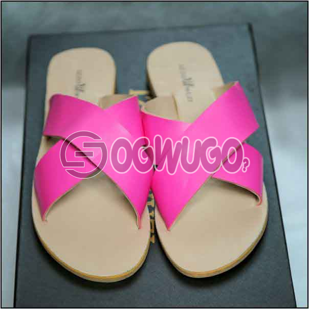 Izzowuzi Ladies Plain and Classy Pink Color Cross Strap Open Toe Slides Slippers: unable to load image