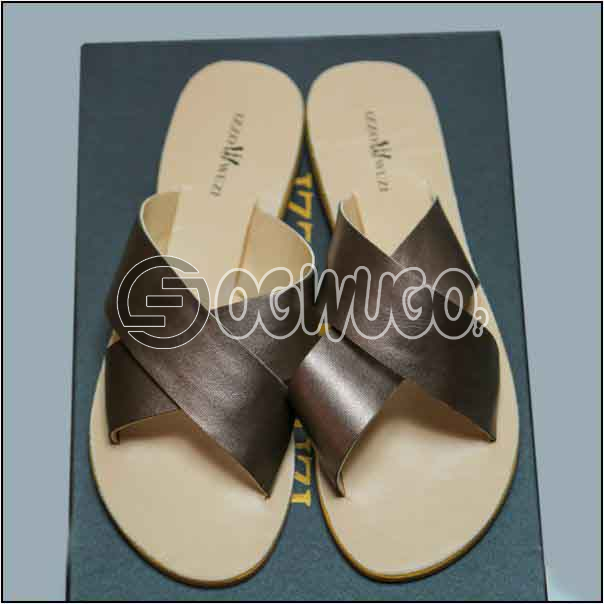 Izzowuzi Ladies Plain and Classy Silver Color Cross Strap Open Toe Slides Slippers