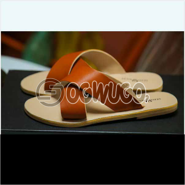 Izzowuzi Ladies Plain and Classy Brown Color Cross Strap Open Toe Slides Slippers: unable to load image