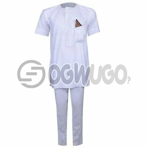 Oyenx Senator All white short Sleeve top and trouser. This takes  6 working days to be delivered (If your size is extra large, it will attract an additional N500): unable to load image