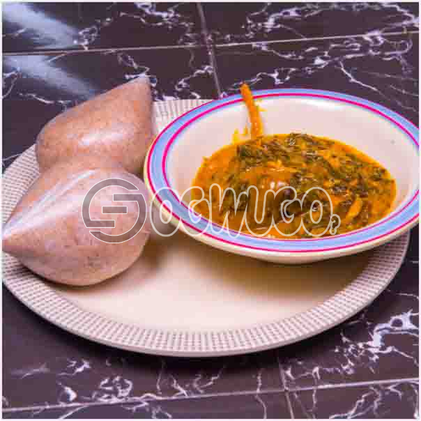 Two swallow with bitterleaf soup or with Either Egusi soup or with Ora/Oha soup and Two big meat. Get free water when you order for this item: unable to load image