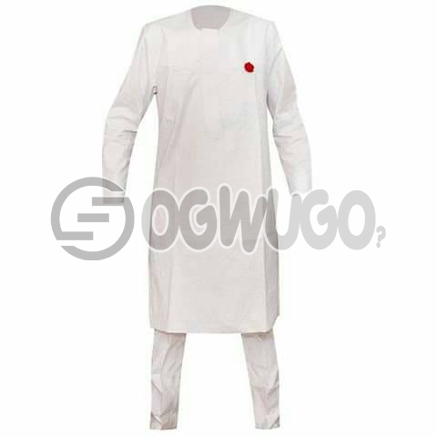 Oyenx Senator All white Long Sleeve top and trouser. This takes  6 working days to be delivered (If your size is extra large, it will attract an additional N500): unable to load image