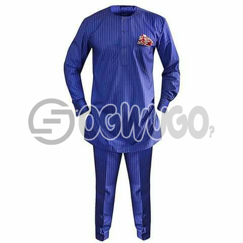Oyenx Senator traditional stripe blue wear, Long Sleeve top and trouser. This takes  6 working days to be delivered (If your size is extra large, it will attract an additional N500)