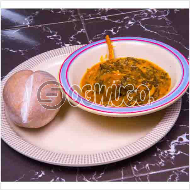 One swallow with bitterleaf soup or with Egusi soup or with Ora/Oha soup and two big meat. Get free water when you order for this item