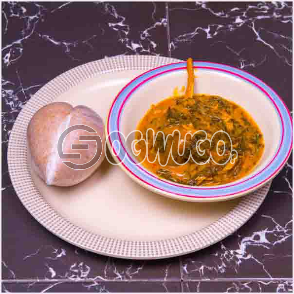One swallow with bitterleaf soup or with Egusi soup or with Ora/Oha soup and two big meat. Get free water when you order for this item: unable to load image