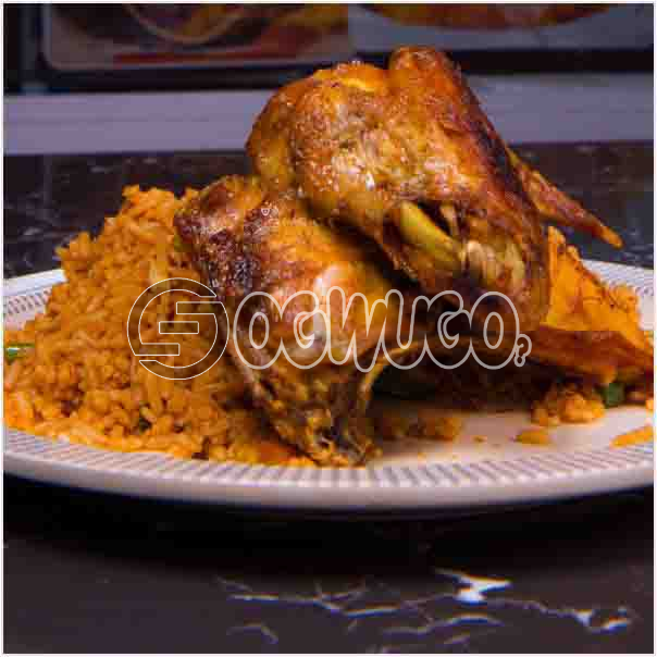 Hot Delicious savory Jollof Rice with Tasty Chicken Just the way you want it. Get free water when you order for this item