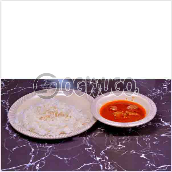 Tasty Delicious Hot White Rice and tomato stew or Ofe akwu stew With a well garnished two pieces of Beef. Get free water when you order for this item: unable to load image