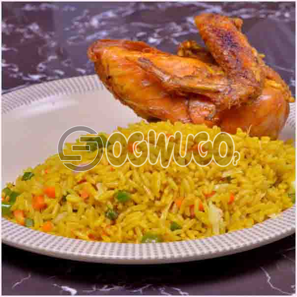 Hot Savory Delicious Spicily Prepared Fried Rice and Tasty Chicken with a very sweet Aroma. Get free water when you order for this item