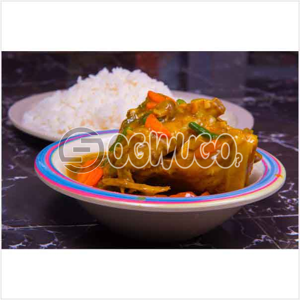 A plate of Delicious Hot white rice with chicken sauce which can be enjoyed anytime of the day. Get free water when you order for this item: unable to load image