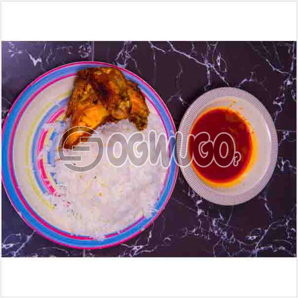 Deliciously Prepared White Rice and Tasty Chicken with Tomato stew or Ofe akwu stew. Get free water when you order for this item