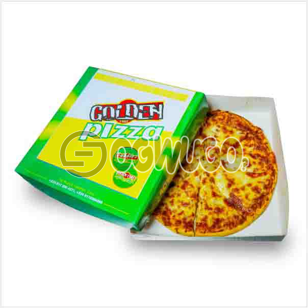 Medium size amazing delicious Hot Golden Royale Pizza with cheese, Ham, Mushroom and Olives toppings