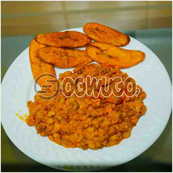 Tasty Delicious Beans and Fried Plantain neatly prepared with different fresh ingredient just the wa: unable to load image
