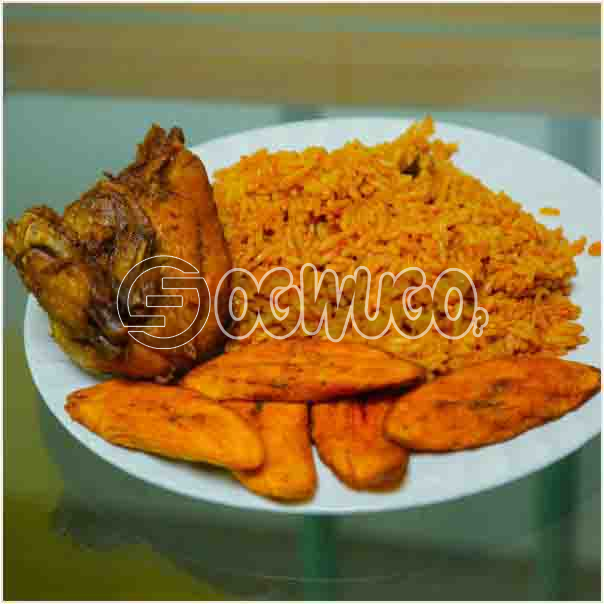 Amazingly Delicious Hot Jollof Rice, Tasty Chicken and fried plantain lauch time or any time enjoy: unable to load image