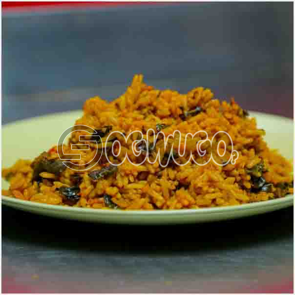 Hot Savory African Native Rice. It comes without meat but have great spices and condiments just the way you like it.