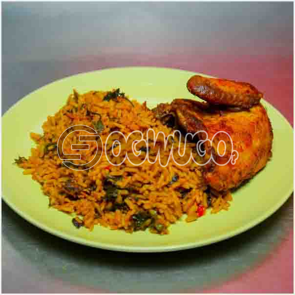 Hot Savory African Native Rice and tasty chicken it comes with great spices and condiments just the