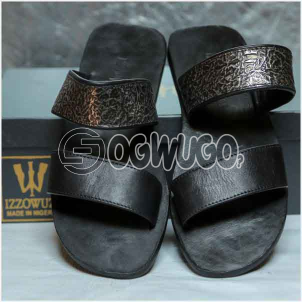 Izzowuzi Men's Prestigious Double Strap Leather Slippers Made in Nigeria by Izzowuzi
