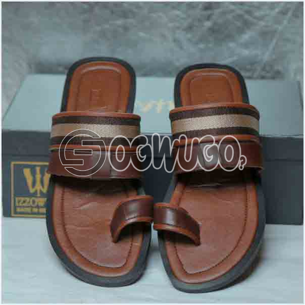 Izzowuzi Men's New look Genuine Strap Leather Slippers Made in Nigeria by Izzowuzi