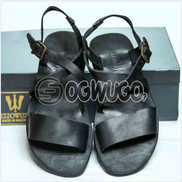 Izzowuzi Casual Men's Classical simple and plain Adjustable Buckle Black Color Double Strap Quality Leather Sandal