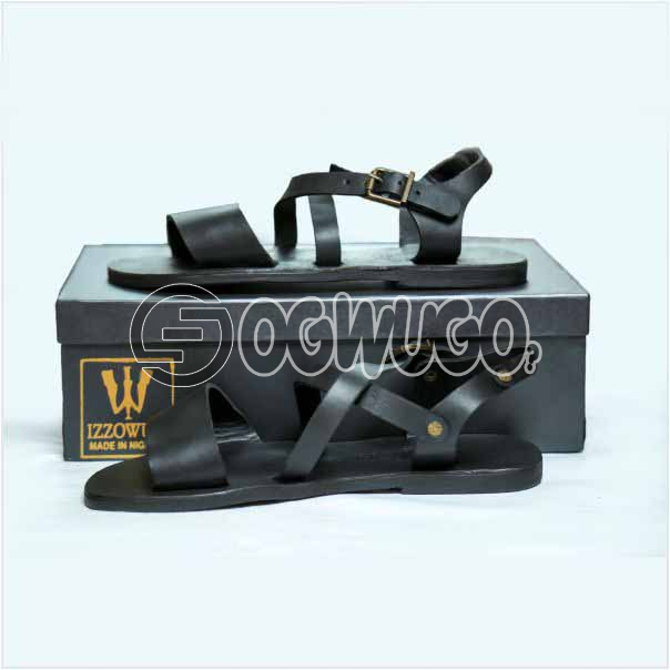 Izzowuzi Casual Men's Classical simple and plain Adjustable Buckle Black Color Double Strap Quality Leather Sandal: unable to load image