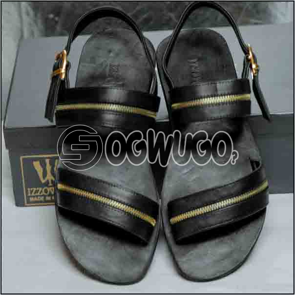 Izzowuzi Men's Golden Royal Quality Leather Sandal with Adjustable Buckles Made in Nigeria by Izzowu