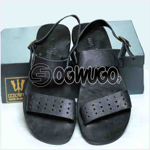 Izzowuzi Prestigious Men's Authentic Black Classical Perforated Leather Sandal with Adjustable Buckl