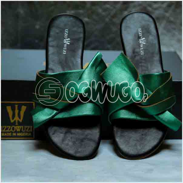 Izzowuzi Ladies Stylish Bow Tie Slides Trending Authentic Leather Slippers for indoors or outdoors