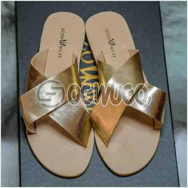 Izzowuzi Ladies Plain and Classy Gold Color Cross Strap Open Toe Slides Slippers