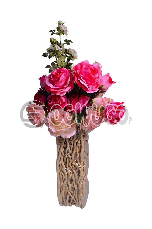 Wooden flower vase,The product is a wooden decorative vase made of high quality wood material.