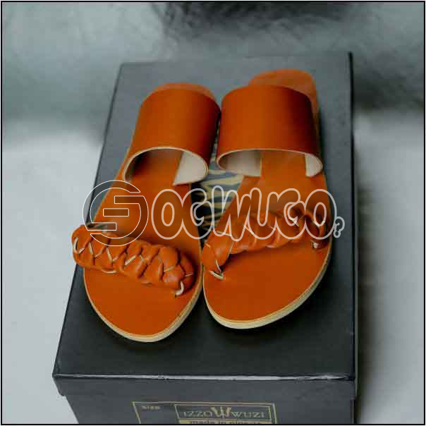 Izzowuzi Orange Color Women's Casual Double Strap Leather Slippers keeps you looking smart.