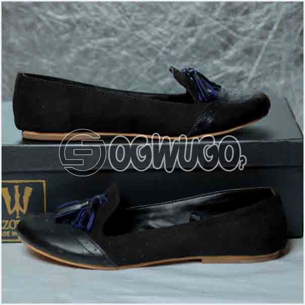 Izzowuzi Women's Black Casual Slip-on Tassel Loafers Available in Beautiful Colors Made in Nigeria by Izzo