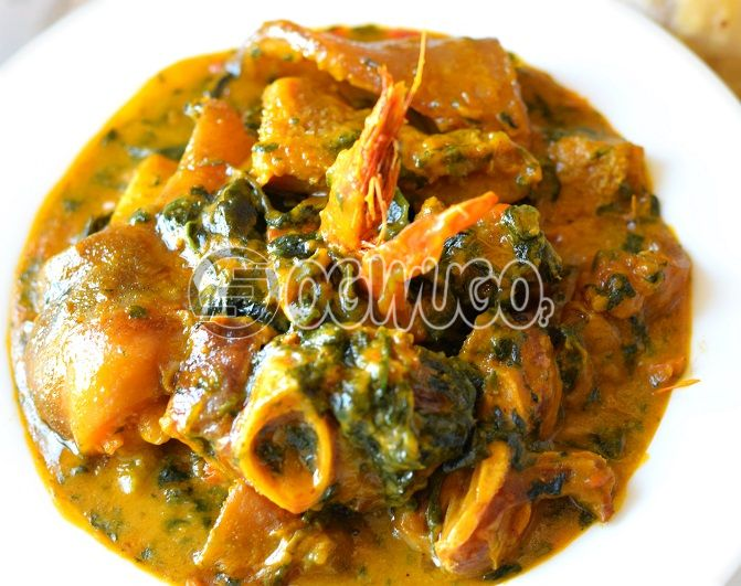 One big swallow with Bitter-leaf, Egusi, Okro, and Ora soup with two (2) meat. Please select your soup type and swallow type. This meal is available as from 12:30pm - 4pm(RFK)