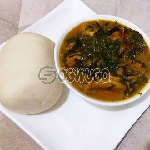 Egusi soup, Bitterleaf soup, or Oha soup and One big swallow with Beef, Gizzard or Goat meat. Please select your preferred soup type, Meat type and swallow type : unable to load image
