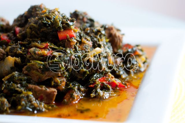 Vegetable soup with One big swallow and Beef, or Goat meat or Gizzard. This meal is very delicious and mouthwatering, please select your meat type