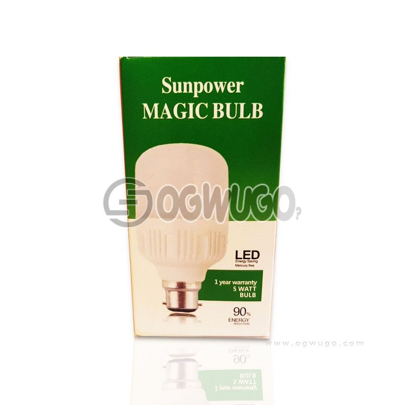 (BULB) Sunpower Magic LED Bulb, unbreakable, Repairable, Wonderful brightness, 5 Watts as bright as 50 watts, Bright in low current, Available in pin or screw with 12 months warranty